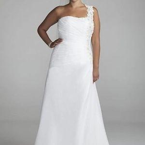 One Shoulder Chiffon Plus Size Wedding Dress Brand